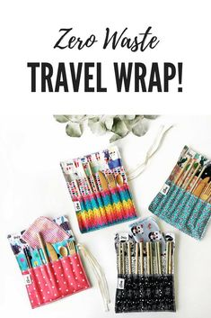 Say no to disposable straws, silverware and napkins on-the-go! It can be difficult when you are traveling or out and about if you aren't prepared. This wrap can be used in many ways to create your perfect travel set #zerowaste #plasticfree #aff