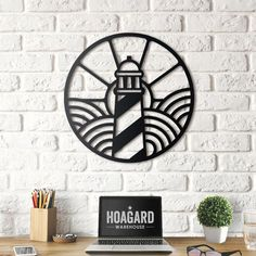 Decorate your walls with nautical wall decors! Lighthouse metal wall art will create a beautiful modern corners for your room. Nautical Wall Decor, Metal Wall Decor, Metal Wall Art, Wall Art Decor, Spray Paint Stencils, Cnc Cutting Design, Laser Art, 3d Cnc, Metal Artwork