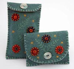 Felt coin purse. Handmade, sea-blue pouch.. $21.00, via Etsy.