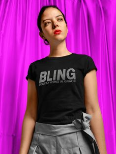 """""""Bling"""" Boldly Living In Grace"""" Tee Christian Tees, Christian Clothing, Bling, Turquoise, Navy, How To Wear, Cotton, Tops, Women"""