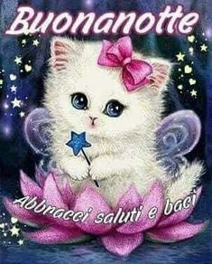 Gattina Buonanotte Good Night, Love Quotes, Teddy Bear, Christmas Ornaments, Cats, Pictures, Animals, Sayings, Beautiful Good Night Images