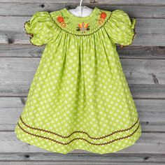 Smocked Thanksgiving Bishop Green Polka Dot by Classic Whimsy! Pre Order yours now for October delivery! #SmockedAuctions