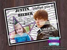 Justin Bieber Invitations  PRINTABLE w/Picture by DesignableDreams, $9.00