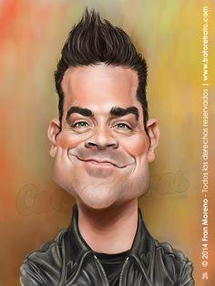 Caricatura de el cantante Robbie Williams, si quieres una así entra en www.tratoretrato.com
