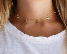 Stars Choker Gold Necklace Gold Star Necklace Gold Star Choker Gold Necklace Dainty Gift for Her Gold Choker Necklace Cute Choker Necklaces, Gold Choker Necklace, Cute Necklace, Star Necklace, Dainty Necklace, Dainty Jewelry, Cute Jewelry, Silver Jewelry, Diamond Earrings