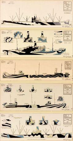 Dazzle camoflage - Images courtesy of the Fleet Library at RISD Dazzle Camouflage, Camouflage Patterns, British Marine, Razzle Dazzle, Navy Ships, World War One, Submarines, Model Ships, Boats