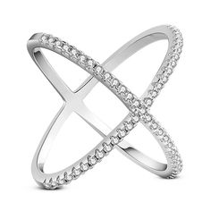 925 Sterling Silver Finger Ring, with Micro Pave AAA Cubic Zirconia, Cross, Size 8, Clear