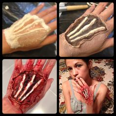 DIY Exposed Bloody Tendons Special FX Wound on hand MATERIALS: Liquid Latex, Cottonball, Tissue Paper, Injury Color Wheel, Concealer, Fake Blood Gel (Halloween, Zombie, Infected) Watch YouTube video step-by-step from fumsmusings