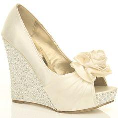 Wedding Shoes Wedges Ivory