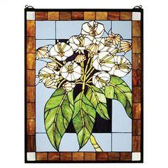 Meyda Tiffany Mountain Laurel Stained Glass Window - 31268