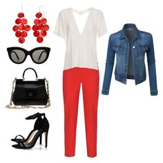"""""""in the red"""" by sf24 on Polyvore featuring Armani Jeans, IRO, Dolce&Gabbana, Boohoo, LE3NO and Victoria Beckham"""
