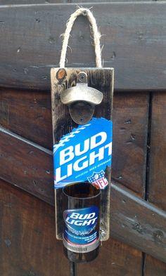Bud Light Beer bottle wall opener by GlassNthings420 on Etsy