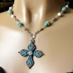 Gothic Christian Cross Necklace in Turquoise and Silver. Religious Jewelry.. $60.00, via Etsy.
