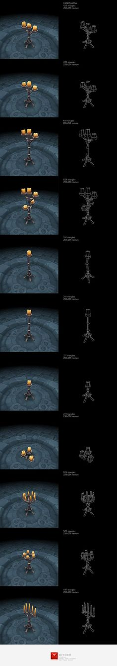 Low Poly Candelabra Set by BITGEM Add a professional touch to your game project with this low poly, hand painted candelabra dungeon lighting asset set. Environment Concept Art, Environment Design, Polygon Modeling, 3d Modeling, Low Poly Games, Digital Texture, Hand Painted Textures, Low Poly 3d Models, Modelos 3d