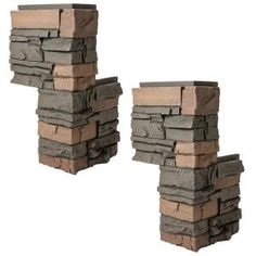 GenStone Stacked Stone Stratford 24 in. x 12 in. x 12 in. Faux Stone Siding Corner Piece Dark Brown Base With Tan And Copper Highlights Stone Siding Panels, Stone Veneer Siding, Faux Stone Siding, Horticulture, Front Porch Deck, Hickory House, Dry Stack Stone, Mystery, Burton