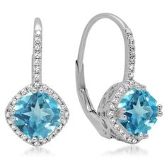 2.20 Carat (ctw) 18K White Gold Cushion Cut Blue Topaz & Round Cut White Diamond Ladies Halo Style Dangling Drop Earring #cushioncutdiamonds