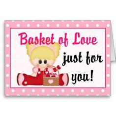 Basket of Love Children's Valentine Greeting Card