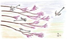 """11/23 """"Which bush is best for birdies?"""" Squimps called up at him, """"'cos if you direct us from your observation post, we'll push you nearer to it.""""  """"They just love this one here,"""" replied Kaius, pointing out the Japanese maple, whose leaves showed a glowing red of autumn colour. """"Those little black, pink and white ones with the long tails are always checking the branches."""""""