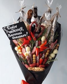Bouquet For Men, Man Bouquet, Food Bouquet, Bouquet Wrap, Vegetable Bouquet, Picnic Box, Alcohol Gifts, Edible Gifts, Antipasto
