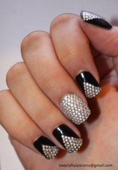 Black and Silver Rhinestone