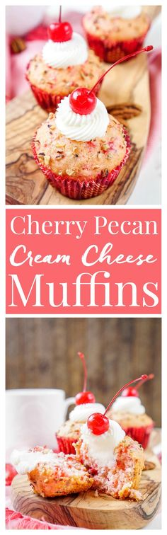 These Cherry Pecan Cream Cheese Muffins are a fun breakfast that borders on dessert! These muffins are loaded with cherry and pecan pieces and filled with a silky cream cheese filling with a hint of almond! Perfect for Valentine's Day or everyday!