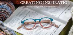 Creating Inspiration, Matte teal and Orange with Wodd Pattern @ICU Eyewear #eyewear #specs #findings