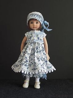 "Blue White 5 PC Set Handmade for 13"" Effner Little Darling 14"" Kish BJD by JEC 