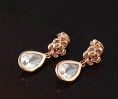 Rose Gold Elements Austrian Crystal Flower Water Drop Earring