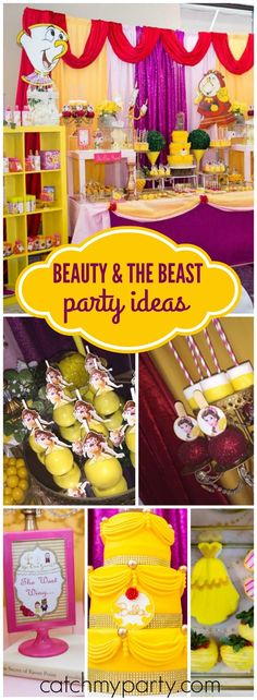 You have to see this beautiful Beauty and the Beast birthday! See more party ide… You have to see this beautiful Beauty and the Beast [. Beauty And Beast Birthday, Beauty And The Beast Theme, Disney Princess Party, Princess Belle, Princess Beauty, Disney Theme, 6th Birthday Parties, Birthday Ideas, 4th Birthday