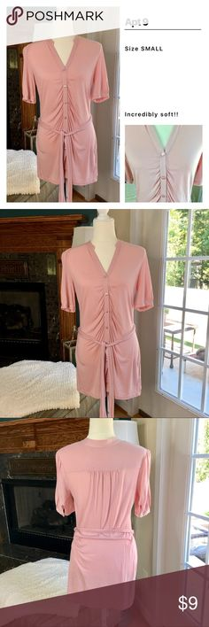 Apt 9 Button Front Top Very pretty button front tunic top with tie belt. Size small. Very soft! Apt 9 Tops Tunics