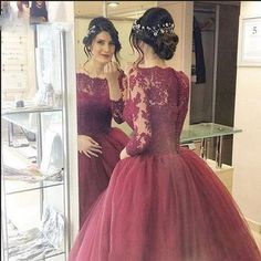 Burgundy Evening Prom Dresses Lace Three Quarter Sleeve Ball Gown Prom Dress Elegant Long Vestido De Noiva