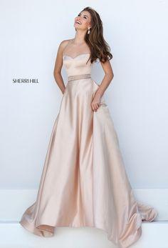 1604b4698c1 Nude Sherri Hill 50222 Halter Neck Beaded Open Back Long Prom Dresses 2016