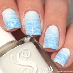 Ocean inspired nail art! Also could work as pool water! Perfect for summer!