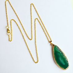 Oval Gold Semi Precious agate necklace - One of a kind, natural azure green semi-precious agate stone, on an extra long gold plated chain and attachments.   Handmade in Britain.  Enjoy free delivery on all orders at Lydia of London.