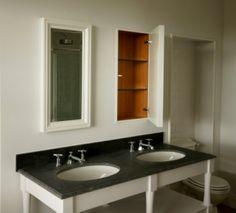 Bespoke bathroom furniture with granite top.Recessed cupboards hidden behind framed mirrored doors. Bathroom Cupboards, Bathroom Storage, Bathroom Medicine Cabinet, Bathroom Ideas, Granite Tops, Linen Storage, Vanity Units, Mirror Door, Bathroom Furniture