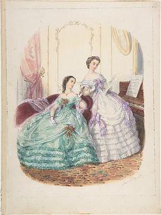 Fashion Study: Two Women in Evening Dress  Adèle Anaïs Toudouze (French, Paris 1822–1899 Paris)  Date: ca. 1860