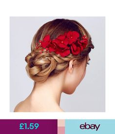 Hair Accessories Fashion Bridal Wedding Bridesmaid Red Flower Hair Clip Hairpin Comb Accessories #ebay #Fashion