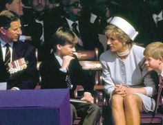 Princess Diana with Prince Charles and Princes William and Harry at the Head of State ceremony in 1995