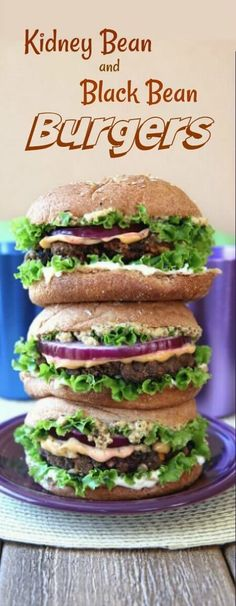 Kidney and Black Bean Burgers are made with an eclectic group of favorite ingredients.   It's a big batch so you can have a party or freeze some patties for the future.  All under 30 minutes.