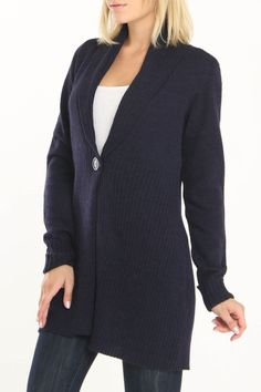 Coupe Shawl Cardigan In Navy -