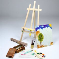 Easel Painting And Tools Pigment Canva Brush Miniature Set Doll House Accessory Wood Dollhouse Furniture Miniature Garden Toys(China (Mainland)) Wooden Dollhouse, Dollhouse Furniture, Dollhouse Miniatures, Doll Accessories, Decorative Accessories, Barbie Games, Doll Toys, Dolls, Paper Suppliers