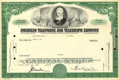 American Tephone and Telegraph Co. /  Issued / Cancelled, 1964 [ABN Co.] An American Telecommunications icon!  AT&T recently announced that it would cease to issue physical stock certificates to its shareholders.  All shares will now be held electronically, so no additional paper certificates will be created.  This is the first of many announcements of this kind that will come in the near future.  Wall street is moving toward paper-less stock ownership!  Certificate is in fine condition.