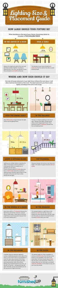 Practical Lighting Size&Placement Guide for Every Corner of the House [Infographic How to hang lighting, a practical guide to measurements. Very good to know for hanging light fixtures. Interior Design Minimalist, Interior Design Tips, Interior Decorating, Interior Ideas, Decorating Tips, Minimalist Decor, Contemporary Interior, Interior Lighting, Home Lighting