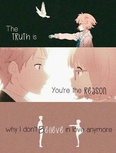 Anime - Kyoukai no Kanata (Beyond the Horizon) Me Anime, I Love Anime, Manga Anime, Sad Anime Quotes, Manga Quotes, Depressing Quotes, Anime Triste, Jolie Phrase, Dark Quotes