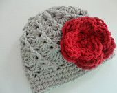Ohio State Women's, OSU Buckeye Crochet Hat - Made to Order - Scarlet and Gray, No Button