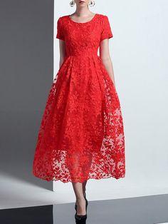 Shop Midi Dresses - Elegant Crew Neck Floral Short Sleeve Midi Dress online. Discover unique designers fashion at StyleWe.com.