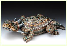 Horned toad in polymer clay by Jon Anderson.  http://www.fimocreations.com