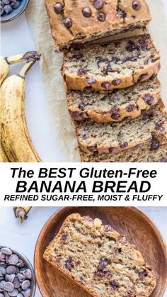 The BEST Gluten-Free Banana Bread recipe sweetened with coconut sugar. This healthier banana bread recipe is perfectly moist and fluffy Best Gluten Free Banana Bread Recipe, Paleo Banana Bread, Banana Bread Recipes, Gluten Free Recipes For Bread, Banana Gluten Free Muffins, Gluten Free Dinners, Banana Bread Almond Flour, Keto Bread, Gluten Free Recipes