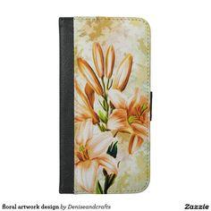 floral artwork design iPhone 6/6s plus wallet case