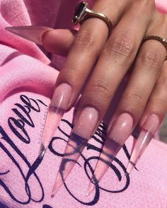"""If you're unfamiliar with nail trends and you hear the words """"coffin nails,"""" what comes to mind? It's not nails with coffins drawn on them. It's long nails with a square tip, and the look has. Acrylic Nails Natural, Long Acrylic Nails, Long Nails, Short Nails, Natural Nails, Long Stiletto Nails, Cute Nails, Pretty Nails, Acryl Nails"""